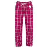 Ladies Dark Fuchsia/White Flannel Pajama Pant-Sabercat Head