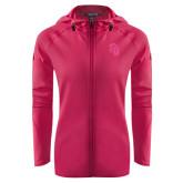 Ladies Tech Fleece Full Zip Hot Pink Hooded Jacket-Sabercat Head