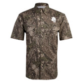 Camo Short Sleeve Performance Fishing Shirt-Sabercat Head