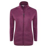 Dark Pink Heather Ladies Fleece Jacket-Sabercat Head