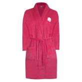 Ladies Pink Raspberry Plush Microfleece Shawl Collar Robe-Sabercat Head