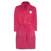 Ladies Pink Raspberry Plush Microfleece Shawl Collar Robe-Sabercat Head