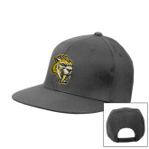 Steel Grey Flat Bill Snapback Hat-Sabercat Head