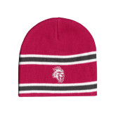 Pink/Charcoal/White Striped Knit Beanie-Sabercat Head