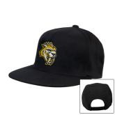 Black Flat Bill Snapback Hat-Sabercat Head