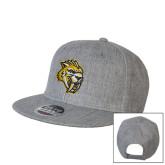Heather Grey Wool Blend Flat Bill Snapback Hat-Sabercat Head