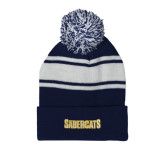 Navy/White Two Tone Knit Pom Beanie with Cuff-Sabercats Word Mark