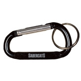 Black Carabiner with Split Ring-Sabercats Word Mark Engraved
