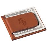 Cutter & Buck Chestnut Money Clip Card Case-Sabercat Head Engraved