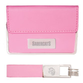 Business Card Case and Key Ring Set Pink-Sabercats Word Mark Engraved
