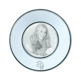 Silver Two Tone Small Round Photo Frame-Sabercat Head Engraved