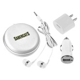 3 in 1 White Audio Travel Kit-Sabercats Word Mark