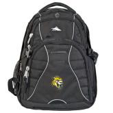 High Sierra Swerve Black Compu Backpack-Sabercat Head