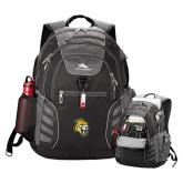 High Sierra Big Wig Black Compu Backpack-Sabercat Head