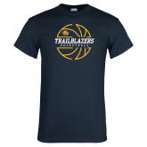 Navy T Shirt-Basketball Ball Design