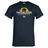 Navy T Shirt-Soccer Half Ball Design