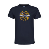 Youth Navy T Shirt-Basketball Ball Design