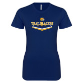 Next Level Ladies SoftStyle Junior Fitted Navy Tee-Baseball Plate Design