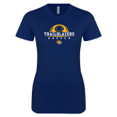 Next Level Ladies SoftStyle Junior Fitted Navy Tee-Soccer Half Ball Design
