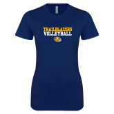 Next Level Ladies SoftStyle Junior Fitted Navy Tee-Volleyball Workmark
