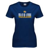 Ladies Navy T Shirt-Trailblazers Repeating