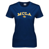 Ladies Navy T Shirt-Arched MCLA