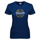 Ladies Navy T Shirt-Basketball Ball Design