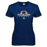 Ladies Navy T Shirt-Soccer Half Ball Design