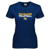 Ladies Navy T Shirt-Volleyball Workmark