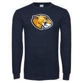 Navy Long Sleeve T Shirt-Mascot Head