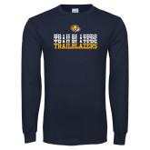 Navy Long Sleeve T Shirt-Trailblazers Repeating