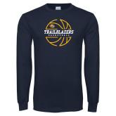 Navy Long Sleeve T Shirt-Basketball Ball Design