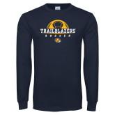 Navy Long Sleeve T Shirt-Soccer Half Ball Design