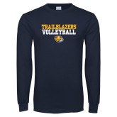 Navy Long Sleeve T Shirt-Volleyball Workmark