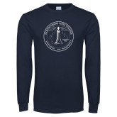 Navy Long Sleeve T Shirt-North Adams State College Seal