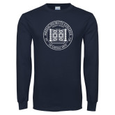 Navy Long Sleeve T Shirt-Front Gates Seal