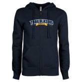 ENZA Ladies Navy Fleece Full Zip Hoodie-Wordmark