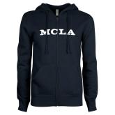 ENZA Ladies Navy Fleece Full Zip Hoodie-MCLA