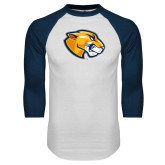 White/Navy Raglan Baseball T Shirt-Mascot Head
