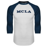 White/Navy Raglan Baseball T Shirt-MCLA