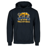 Navy Fleece Hoodie-Volleyball