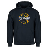 Navy Fleece Hoodie-Basketball Ball Design