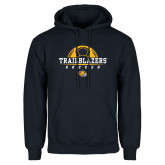 Navy Fleece Hoodie-Soccer Half Ball Design
