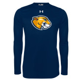 Under Armour Navy Long Sleeve Tech Tee-Mascot Head