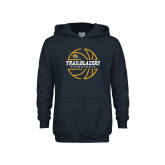Youth Navy Fleece Hoodie-Basketball Ball Design
