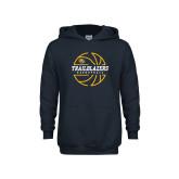 Youth Navy Fleece Hoodie-Basketball Ball Design