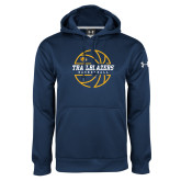 Under Armour Navy Performance Sweats Team Hoodie-Basketball Ball Design