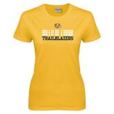 Ladies Gold T Shirt-Trailblazers Repeating