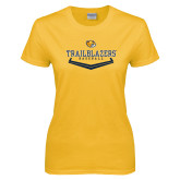 Ladies Gold T Shirt-Baseball Plate Design
