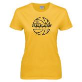 Ladies Gold T Shirt-Basketball Ball Design